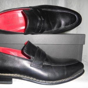 Italian CORTO Black Leather Loafers Euro 42 US 9.5